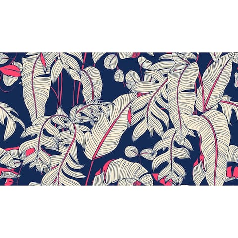 Navy Tropical Leaves Removable Wallpaper - 10'ft H x 24''inch W