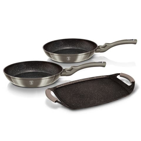 Berlinger Haus 3-Piece Frypan Grill Plate Set with 2 pcs Heat Resistant Silicon Handle, Carbon Collection