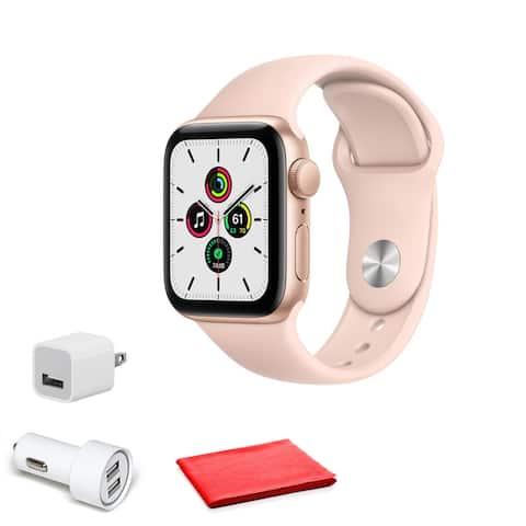 Apple Watch SE (GPS, 40mm) Gold Pink Sand Sport Band with Cleaning