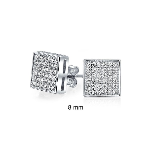 Bling Jewelry Sterling Silver Micro Pave Cz Square Stud Earrings 8mm