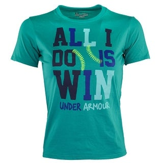 """Under Armour Girls' UA Graphic """"All I Do Is Win'' T-Shirt - turquoise"""