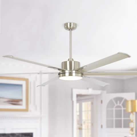 65-inch Nickel Aluminum 6-blade LED Ceiling Fan with Remote