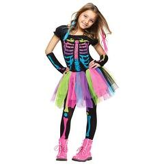 Girls Funky Punky Bones Skeleton Halloween Costume