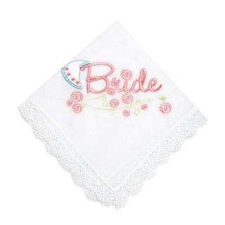 Brides Day Embroidered Handkerchief with Crochet Trim