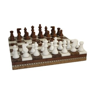 Brown & White Alabaster Chess Set Inlaid Chest - Multicolored