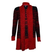 Style & Co. Women's Comfy Boucle Open Cardigan Sweater - red amore/black