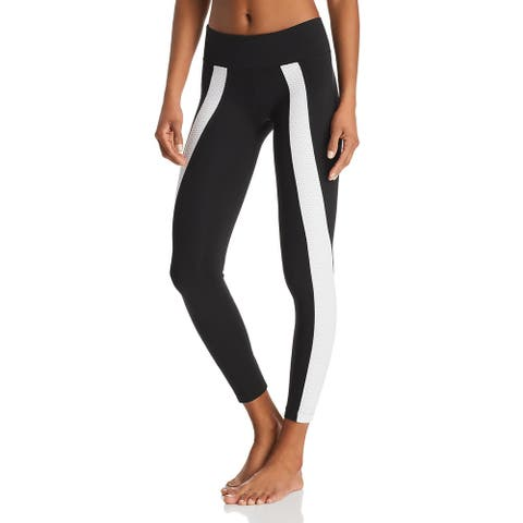 Koral Womens Athletic Leggings Mid Rise Stretch - Black/White - XS