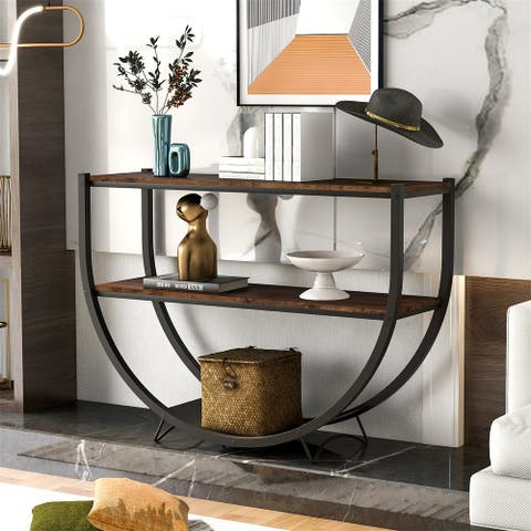 The Gray Barn Highfield Rustic Industrial Console Table