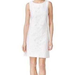 Calvin Klein NEW White Women's Size 14 Embroidered Eyelet Sheath Dress