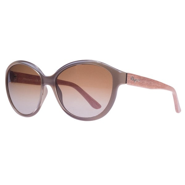 Salvatore Ferragamo SF717/S 902 Turtle/Burnt Wood Oval Sunglasses - taupe gradient - 58-15-135