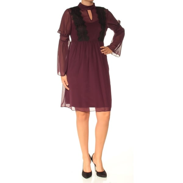 JESSICA SIMPSON Womens Purple Lace Long Sleeve Keyhole Above The Knee Fit + Flare Dress Size: 6