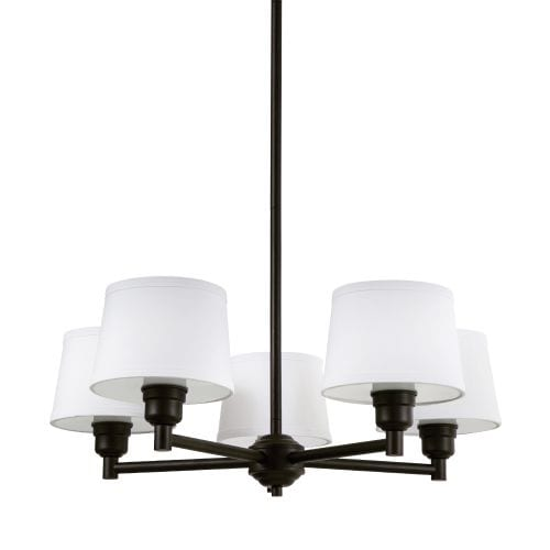 """Park Harbor PHHL6045 Worthington 26"""" Wide 5 Light Shaded Style Chandelier with Tapered Shades"""