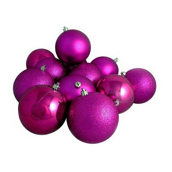 "16ct Light Magenta Pink Shatterproof 4-Finish Christmas Ball Ornaments 3"" (75mm)"