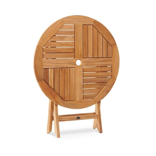 Shop Valencia Round Teak Folding Outdoor Dining Table With Umbrella Hole Overstock 18091572