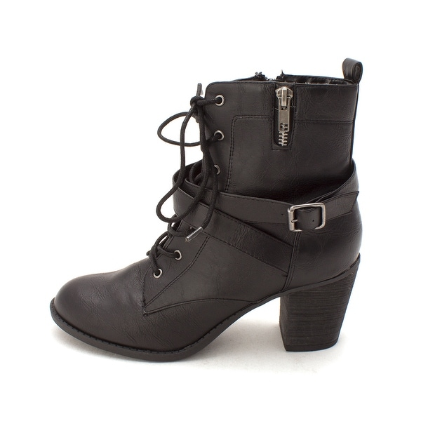 Diba Womens Pilot Almond Toe Ankle Fashion Boots, Black, Size 8.5