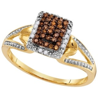 10kt Yellow Gold Womens Round Cognac-brown Colored Diamond Cluster Fashion Ring 1/7 Cttw - Brown/White
