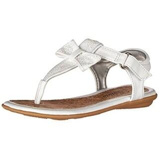 Jumping Jacks Girls Judy Glitter Bow Thong Sandals - 3 medium (b,m)