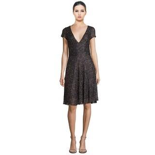 Badgley Mischka Bead Embellished V-Neck Fit & Flare Cocktail Evening Dress - 12