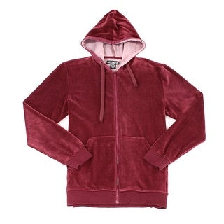WELLINGTON Red Mens Size Large L Full Zip Velour Hoodie Sweater
