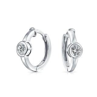 6MM Round Solitaire Bezel Set Kpop Hoop Hoop Earrings For Women Men Cubic Zirconia Silver Plated 925 Sterling Silver