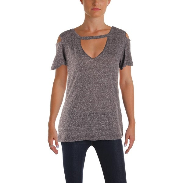 18fb6a6d7 Shop LNA Clothing Womens Aiden Choker T-Shirt Cold Shoulder Heathered - L - Free  Shipping On Orders Over $45 - Overstock - 24304650