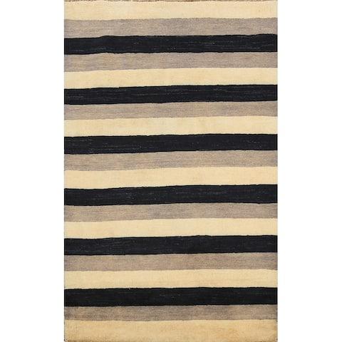 "Modern Stripe Gabbeh Kashkoli Oriental Area Rug Handmade Wool Carpet - 3'1"" x 4'10"""