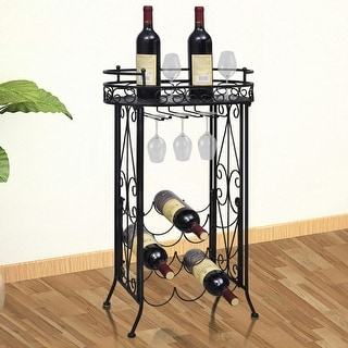 vidaXL Metal Wine Rack Table with Hooks for 9 Bottles