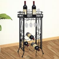 vidaXL Wine Rack with Glass Holder for 9 Bottles Metal