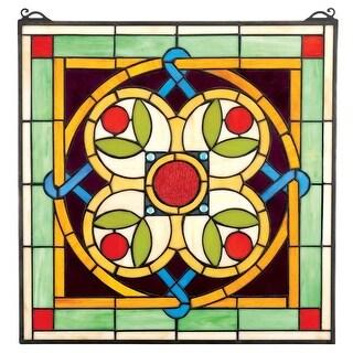 Design Toscano Celtic Floral Quatrefoil Stained Glass Window