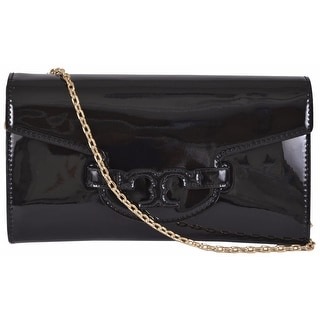 New Tory Burch Lena Black Patent Leather Convertible Chain Handbag Clutch