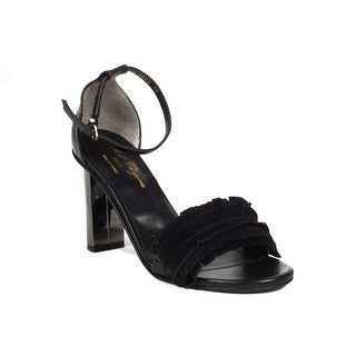 Robert Clergerie Women's 'Liare' Suede Fringe Heels Black Shoes