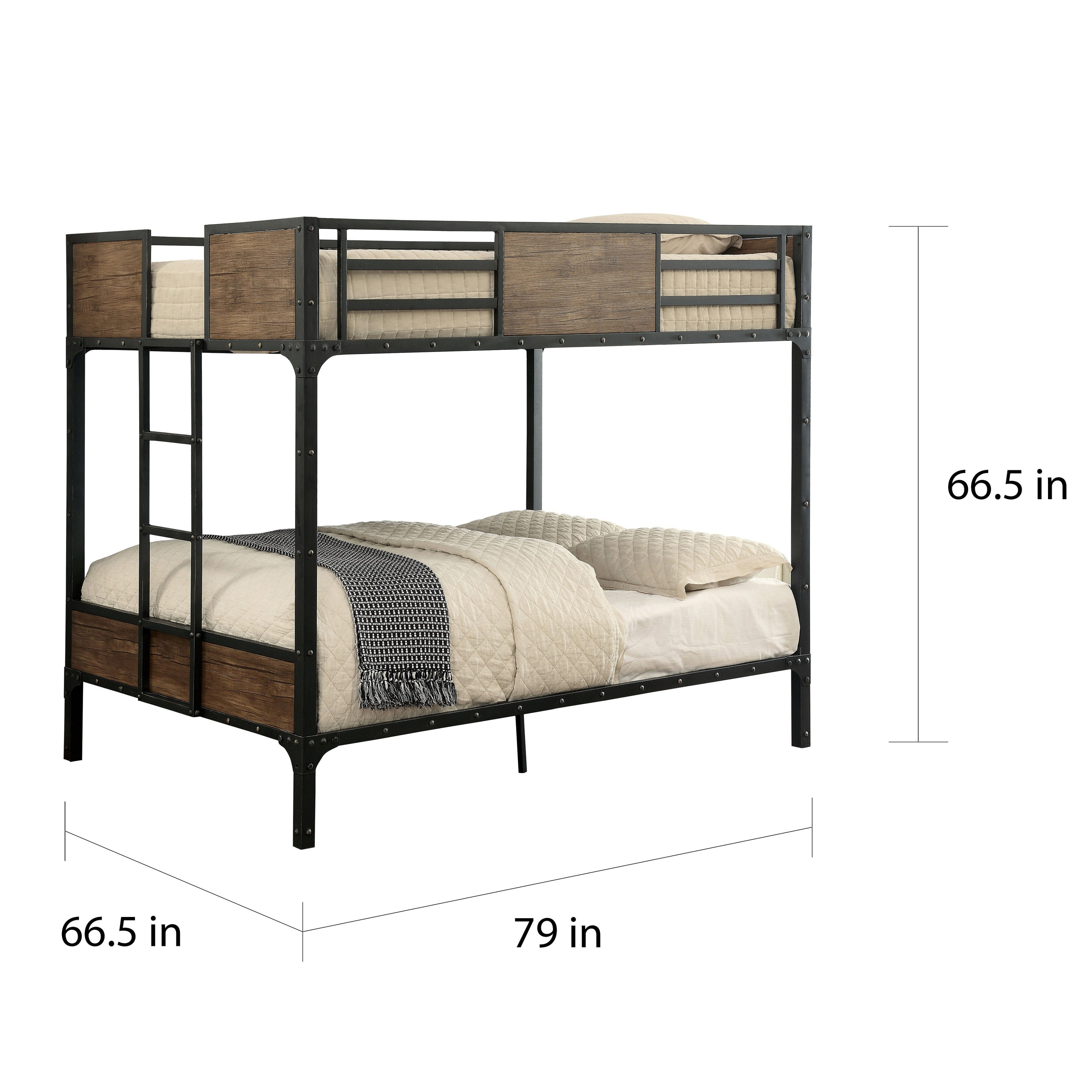 Picture of: Furniture Of America Jown Industrial Black Metal Bunk Bed On Sale Overstock 11149560 Full Over Full