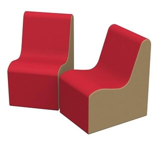 36 x 24 x 28 in. SoftZone Wave Youth Chair, Pack of 2 - Red &