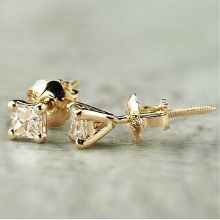 Auriya 14k Gold 1/4ctw Princess-cut Diamond Stud Earrings