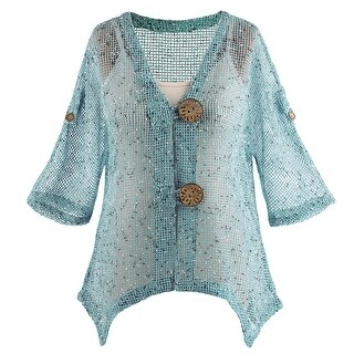 Women's Mesh Tunic Jacket - 2 Buttons Roll-Tab Sleeves