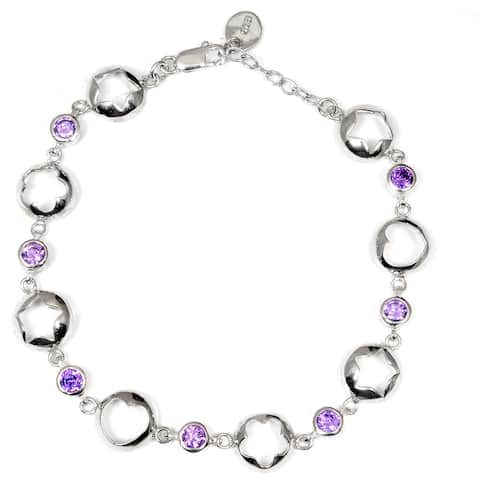 Cubic Zirconia Sterling Silver Round Chain Bracelet by Orchid Jewelry