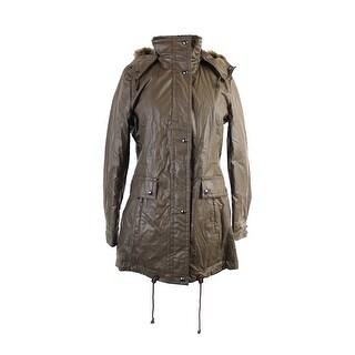 Calvin Klein Olive Faux-Fur-Trim Hooded Jacket XS