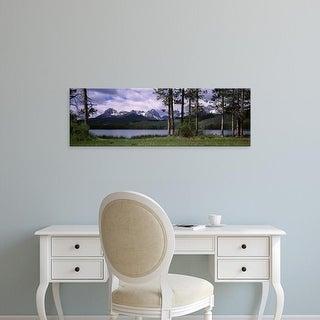 Easy Art Prints Panoramic Image 'Trees, Mountains, Little Redfish Lake, Sawtooth  Recreation Area, Idaho' Canvas Art