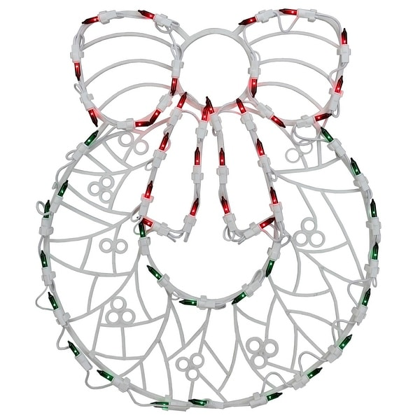 "18"" Lighted Wreath Christmas Window Silhouette Decoration (Pack of 4) - green"