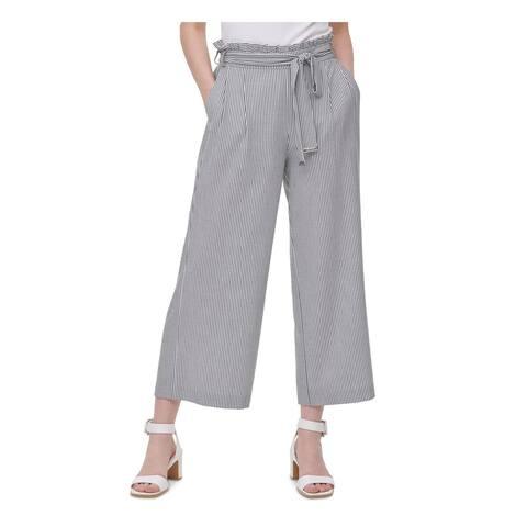 CALVIN KLEIN Womens Gray Striped Wide Leg Pants Size L