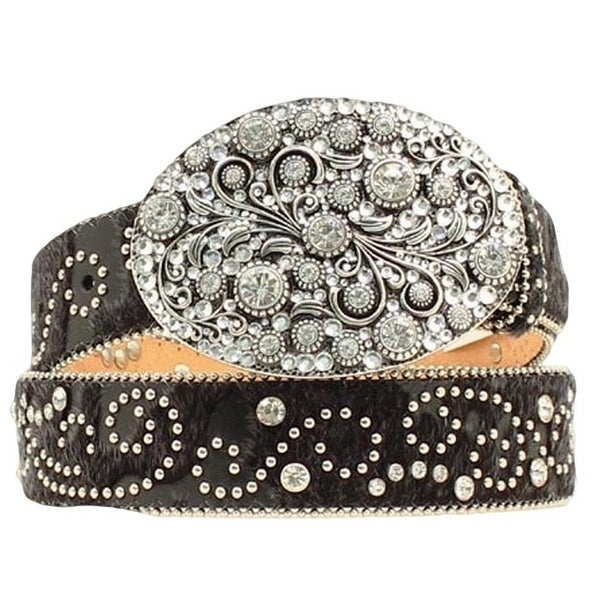 Nocona Western Belt Womens Crystal Floral Swirl Hair Black