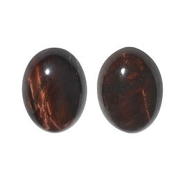 Red Tiger Eye Gemstone Oval Flat-Back Cabochons 18x13mm (2 Pieces)