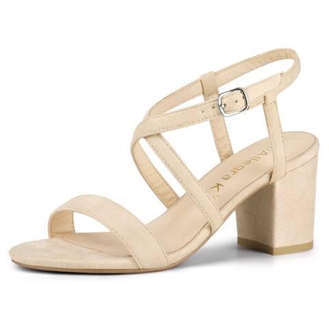 Women Open Toe Crisscross Straps Block Heeled Sandals