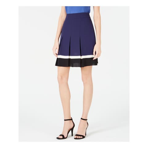 ANNE KLEIN Womens Navy Color Block Mini Pleated Skirt Size 16