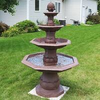 Sunnydaze 4 Tier Octagon Pineapple Outdoor Water Fountain 64 Inch Tall