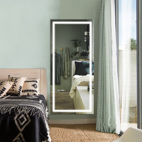 LED Full Length Lighted Mirror,Wall Mounted Hanging,Dimmable Lights - 22x48