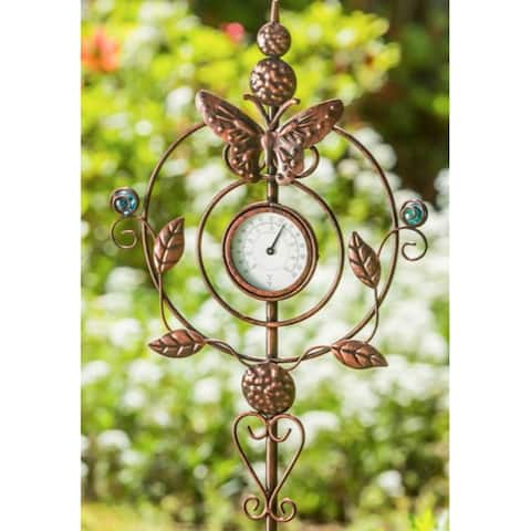 """32""""H Thermometer Butterfly Garden Stake"""