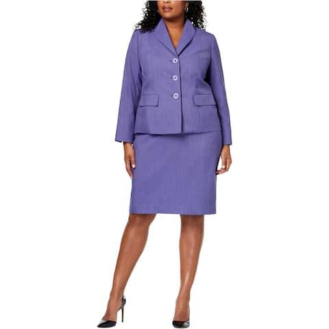 Le Suit Womens Solid Three Button Blazer Jacket, Purple, 16W