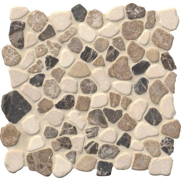 """MSI SMOT-PEB-MIX 11-7/16"""" x 11-7/16"""" Pebble Mosaic Sheet - Tumbled Marble Visual - Sold by Carton (9.1 SF/Carton)"""