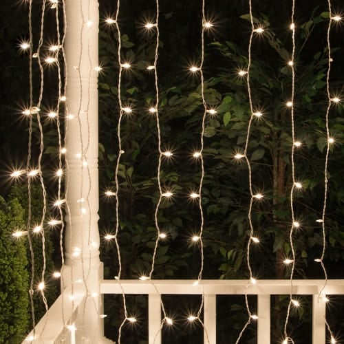"""Wintergreen Lighting 17609 6' Long Indoor Curtain Mini Icicle Lights with 6"""" Spacing and White Wire"""